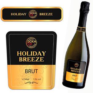 Дизайн этикетки шампанского «Holiday Breeze»